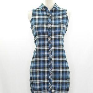 Sans Soucci High Low Plaid T-Shirt Dress